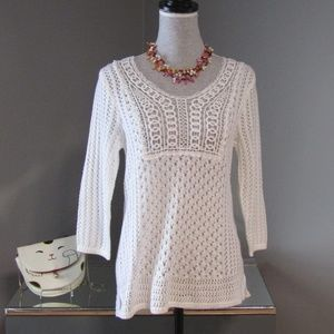 NEW Christopher & Banks Crochet Knit Lace Sweater